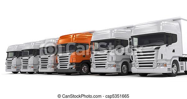 Trucks isolated on white - csp5351665