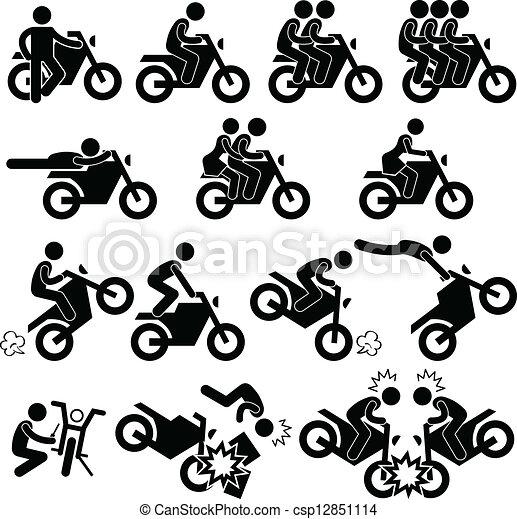 Un icono de riesgo de moto - csp12851114
