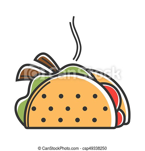True Hot Mexican Taco With Delicious Filling Illustration Hot Taco Isolated Vector Illustration Traditional Dish Of Mexican Canstock