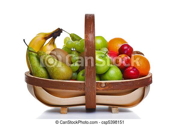 Trug full of fresh fruit isolated on white background. - csp5398151