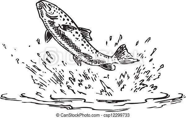 Illustration figure main sauter vecteur fait eau - Dessin truite ...