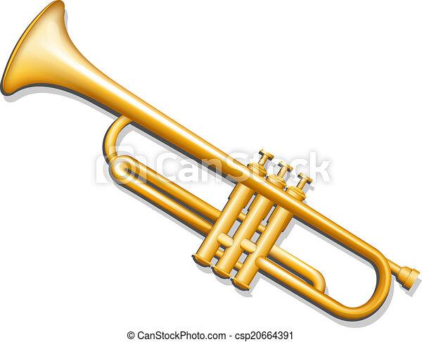 Trumpet. Brass wind musical instrument - csp20664391