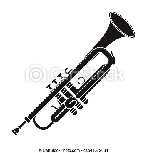 Trumpet Icon In Black Style Isolated On White Background Musical