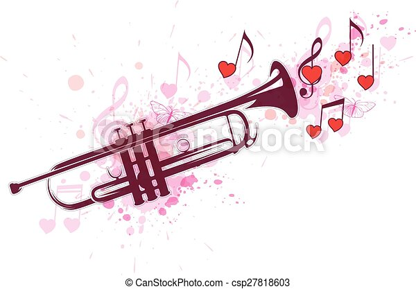 Clip Art Line Of Hearts : Romantic music background with trumpet notes and red hearts