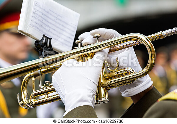 Trumpet player in military band - csp18229736