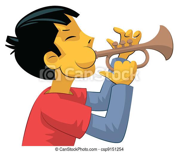 Trumpet player teenage boy - csp9151254