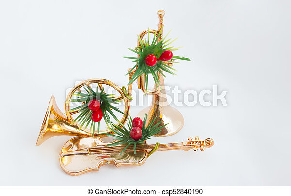 Christmas Trumpet Images.Trumpet Violin And Horn On The White Background