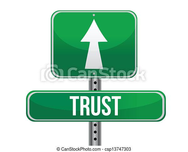 trust road sign illustration design - csp13747303