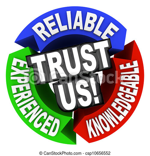 Trust Us Circle Words Reliable Experienced Knowledgeable - csp10656552