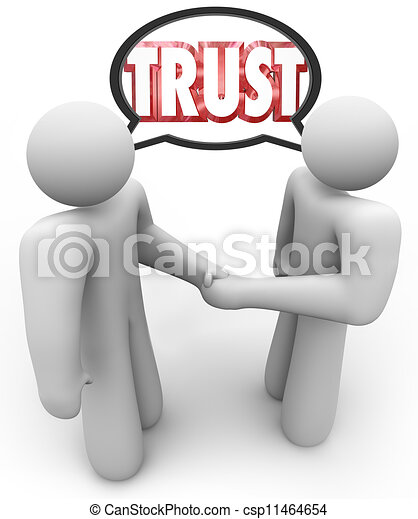 Trust Word Two People Handshake Speech Bubble - csp11464654