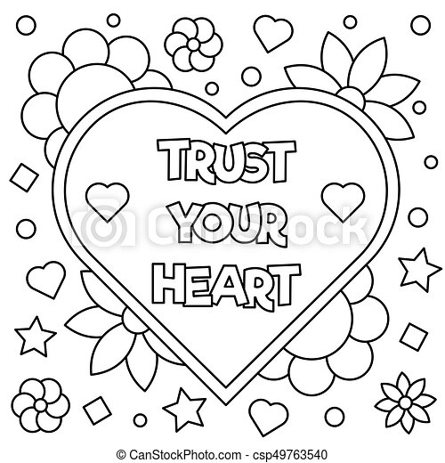 Trust Your Heart Coloring Page Vector Illustration