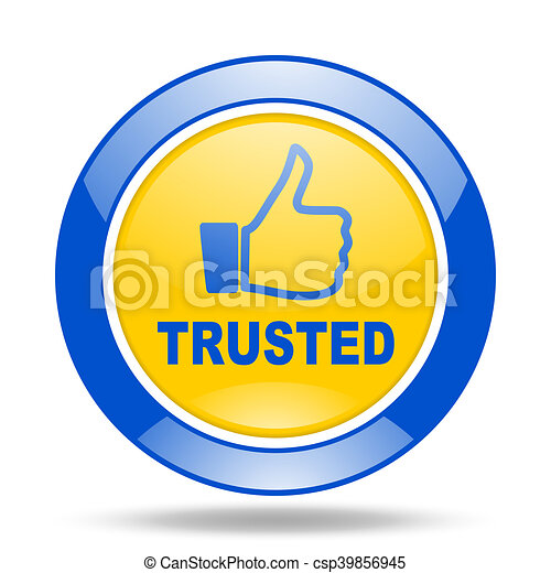 trusted blue and yellow web glossy round icon - csp39856945