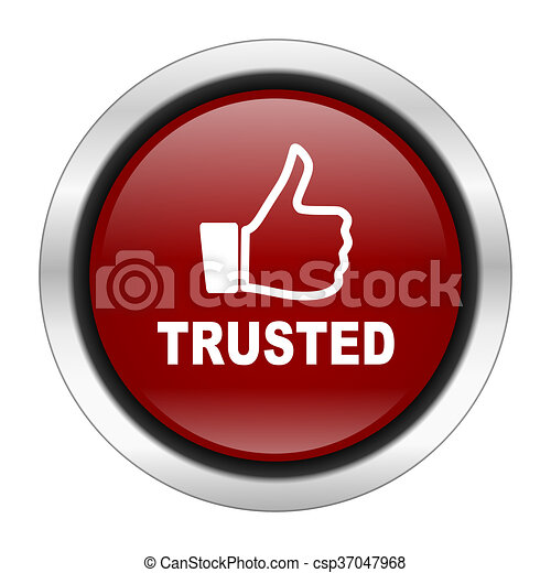 trusted icon, red round button isolated on white background, web design illustration - csp37047968