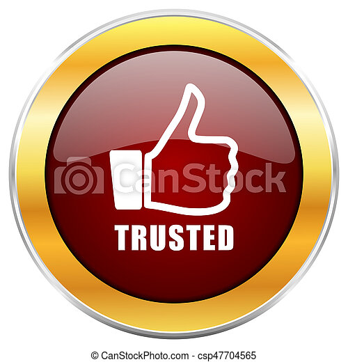 Trusted red web icon with golden border isolated on white background. Round glossy button. - csp47704565