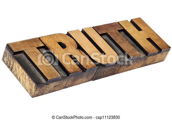truth word in letterpress wood type - csp11123830