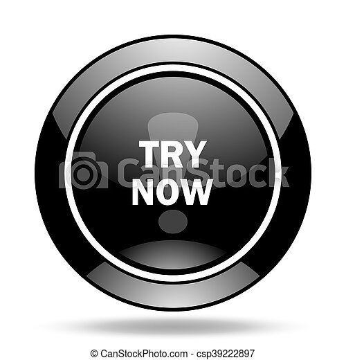try now black glossy icon - csp39222897