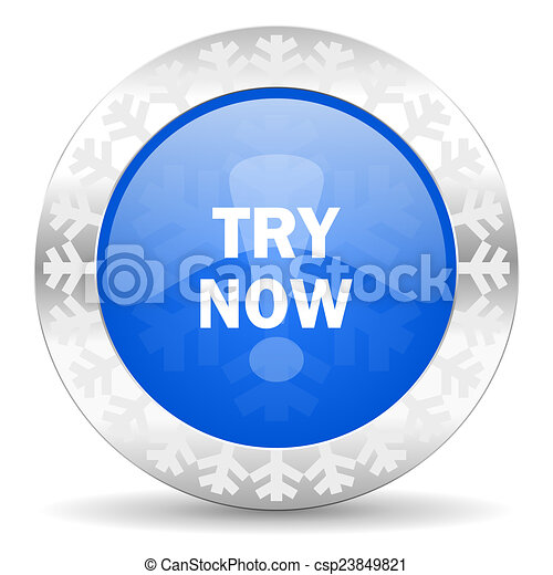 try now blue icon, christmas button - csp23849821