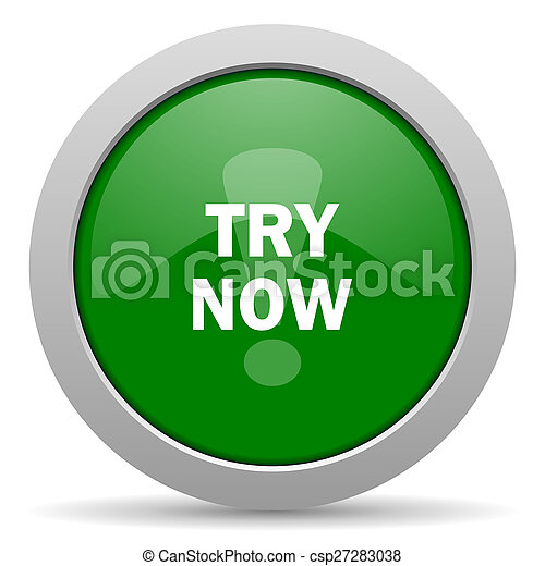 try now green glossy web icon - csp27283038