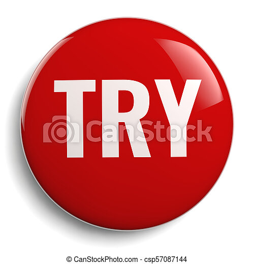 Try Red Button Round Icon - csp57087144