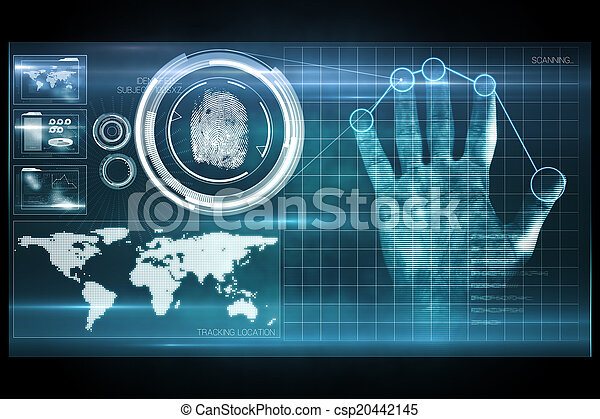 tryk, garanti, afsøge, digitale, hånd - csp20442145
