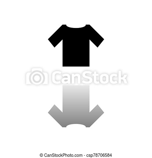 tshirt icon flat tshirt black symbol on white background simple illustration flat vector icon mirror reflection shadow can stock photo