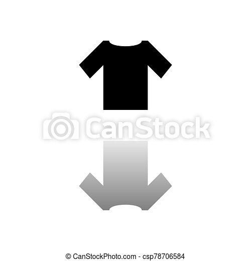 tshirt icon flat tshirt black symbol on white background simple illustration flat vector icon mirror reflection shadow can stock photo