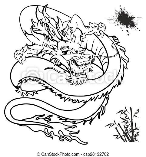 Tshirt3 tatouage japonaise dragon tatouage format japonaise dragon tshirt vecteur - Dragon japonais dessin ...