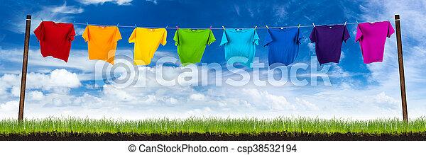 tshirts, lin, was, kleurrijke - csp38532194