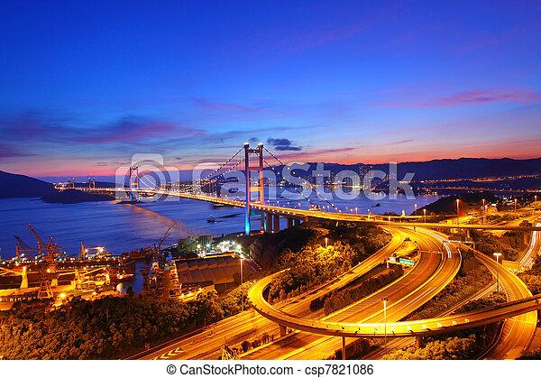 Tsing Ma Bridge at sunset time in Hong Kong - csp7821086
