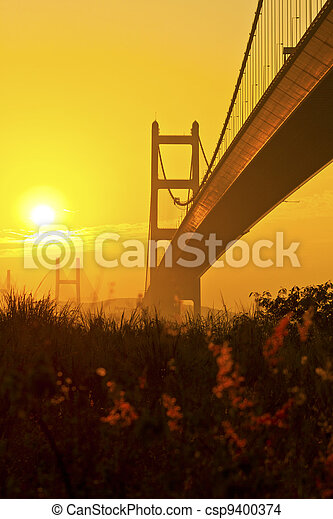 Tsing Ma Bridge in Hong Kong at sunset - csp9400374