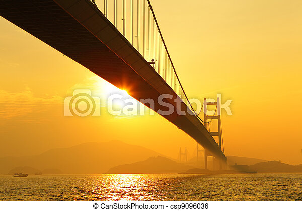 tsing ma bridge in sunset - csp9096036