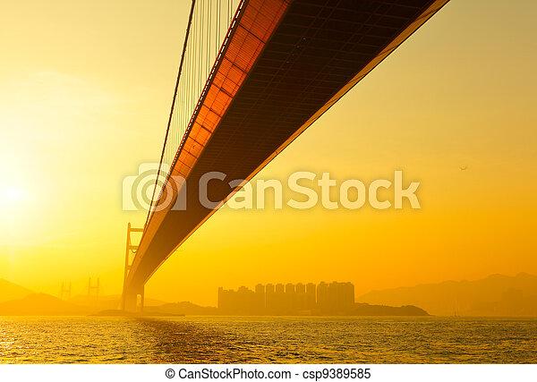 tsing ma bridge in sunset - csp9389585