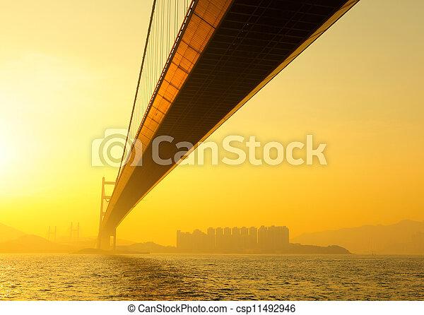 tsing ma bridge in sunset - csp11492946