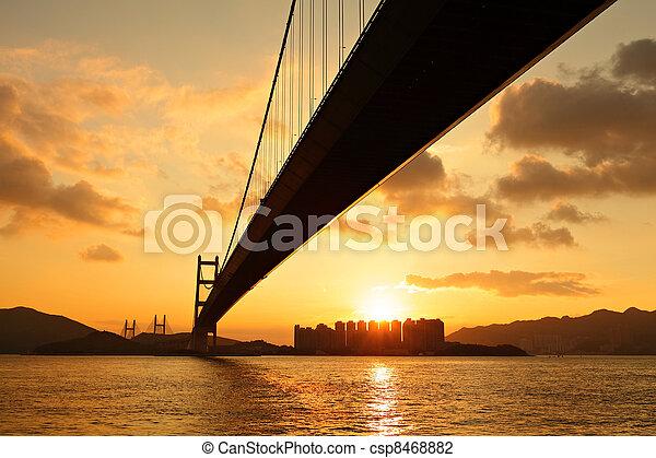 tsing ma bridge in sunset - csp8468882