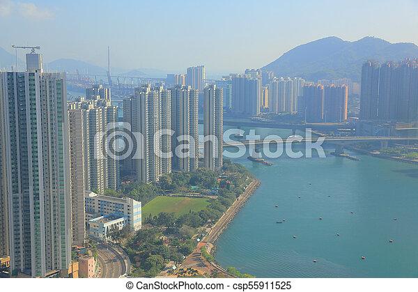 Tsuen Wan in Hong Kong - csp55911525