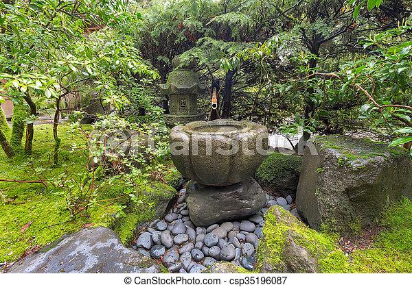 Tsukubai Water Fountain At Japanese Garden Csp35196087