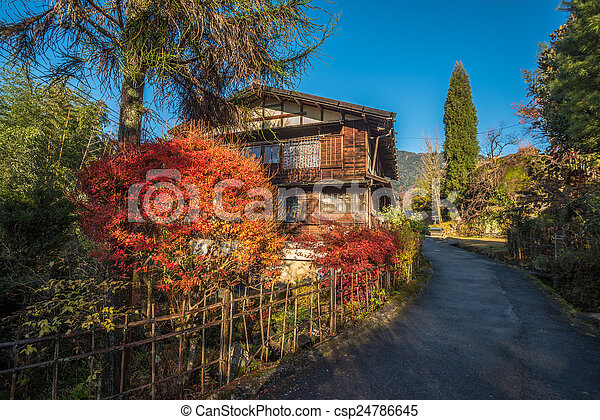 Tsumago, scenic traditional post town in Japan - csp24786645
