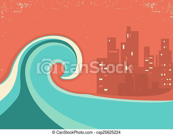 Tsunami and big city in the night.Huge wave poster - csp25625224