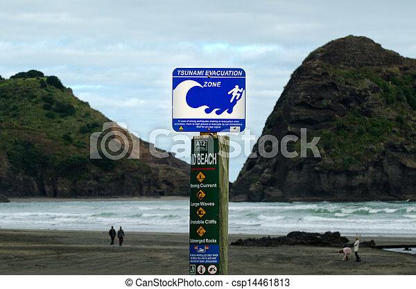 Tsunami evacuation route sign - csp14461813