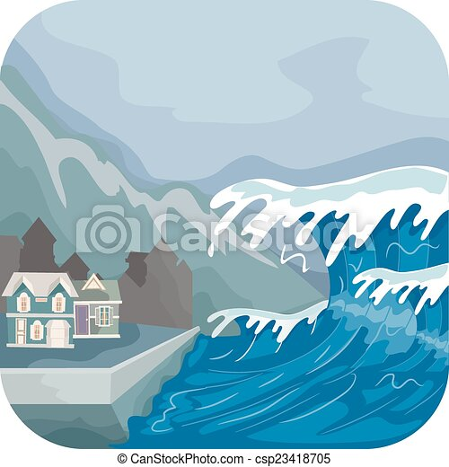 illustration featuring a tsunami engulfing a village water wave clip art for publisher water waves clipart png