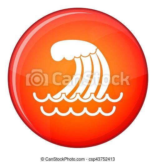 Tsunami wave icon, flat style - csp43752413