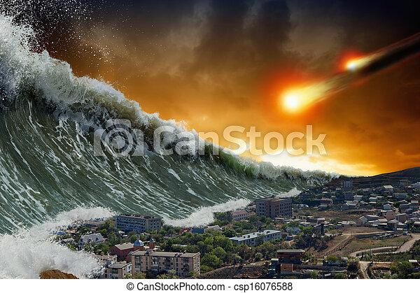 Tsunami waves, asteroid impact - csp16076588