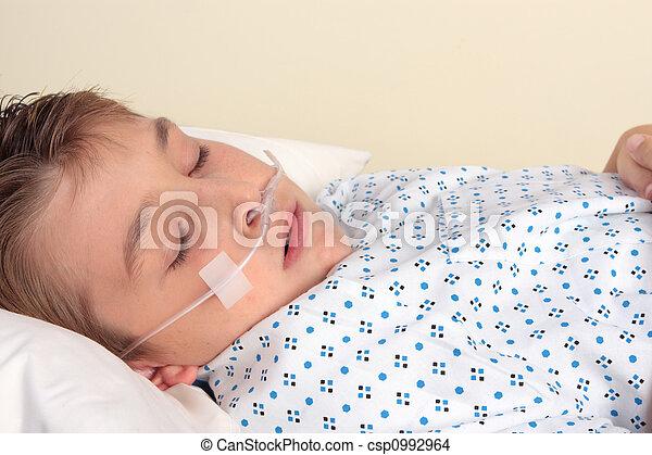 Ttauma patient with nasal cannula -  closeup - csp0992964