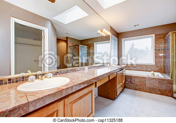 Tub cuarto de ba o grande lujo granito rojo - Cuartos de bano grandes ...