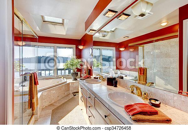 tub., salle bains, douche, grand verre, jacuzzi, maître, luxe, intérieur,  marbre, rouges