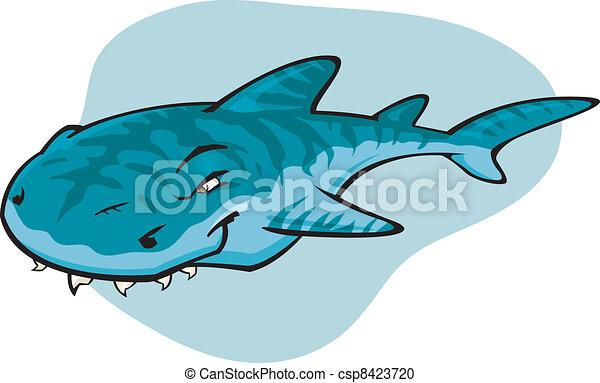 tubarão tigre, caricatura - csp8423720