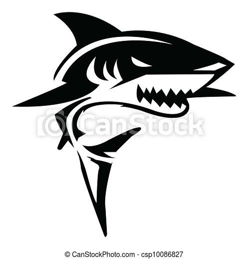 tubarão, vetorial, ilustração - csp10086827