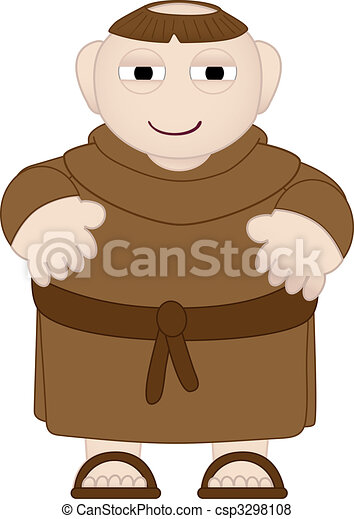 Tubby Monk in Brown Robes wearing sandles - csp3298108