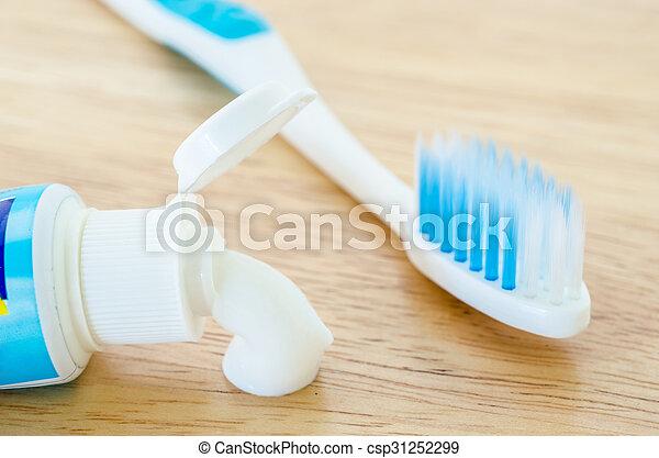 tube., blanco hacia fuera, pasta dentífrica, derramar - csp31252299