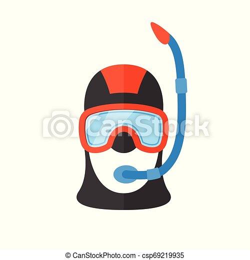 tube., respiración, buzo, brillante, traje, retrato, escafandra autónoma - csp69219935